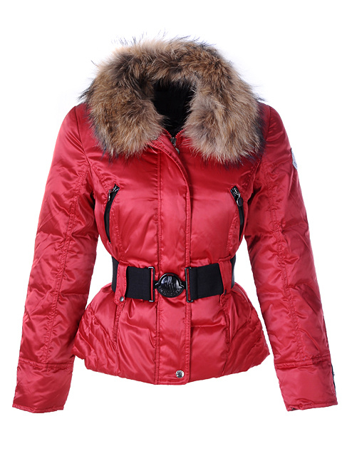 Moncler Down Jackets Women Fur Collar Red