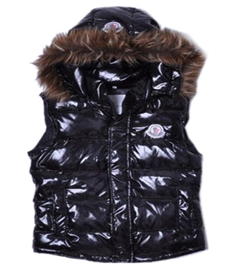 Moncler jacket down jacket woman fur hood Black