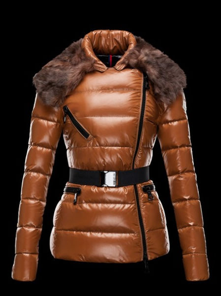 Moncler Women's Leather Jackets Brown Fur Collar
