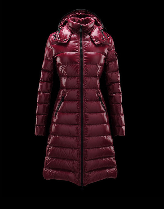 Women Moncler Down Jackets Moka Wine Red