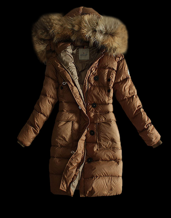 Women Moncler Long Down Jackets Brown