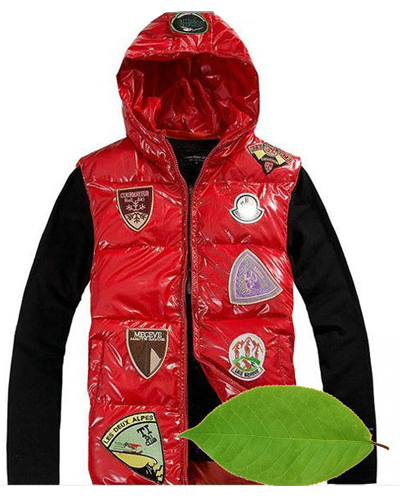 Moncler jacket multiple logo Red Men