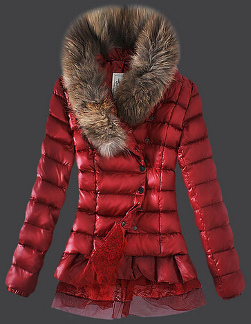 Moncler Women's Short Parka Red