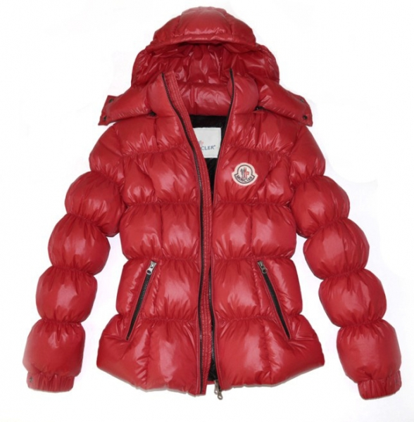 Moncler Down Jackets For Womens Zip Stand Collar Red