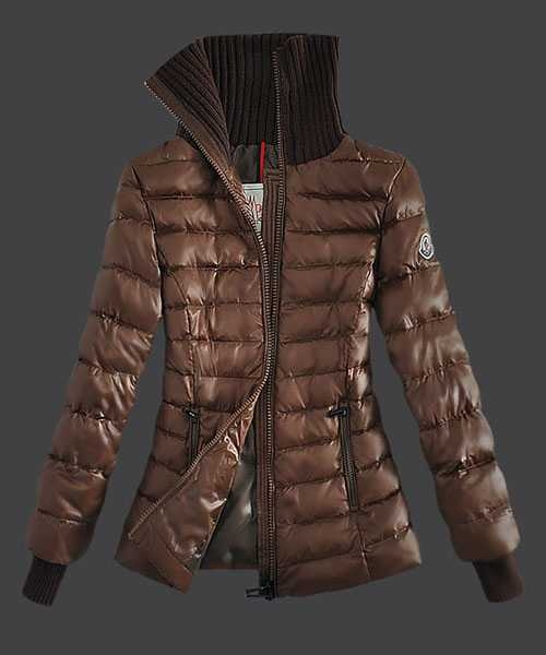 Moncler Down Jackets Women Stand Collar Zip Coffee