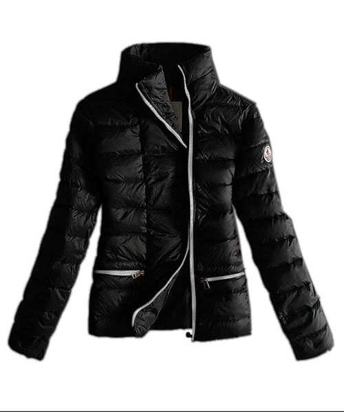 Moncler Down Jackets Women White Zip Pure Color Black
