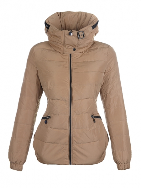 Moncler Down Jackets Womens Neck Collar Apricot