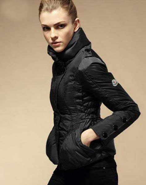 Moncler Down Jackets Womens Stand Collar Black