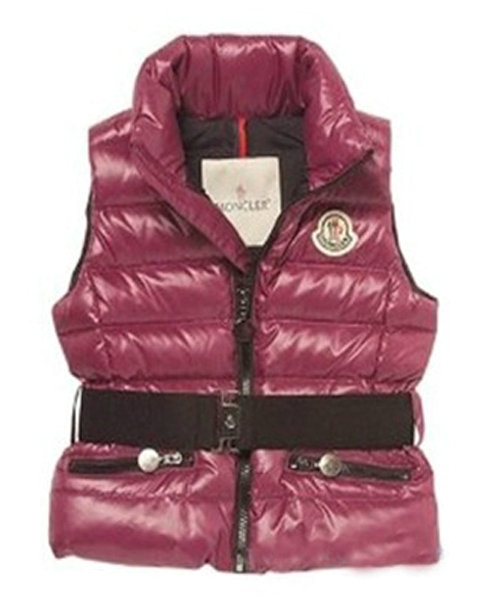 Moncler Down Sleeveless Vest Women Zip Wine Red