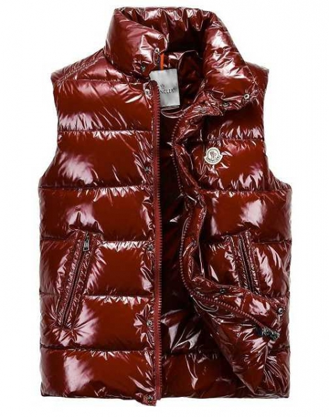 Moncler Down Vest For Men Collar Single-breasted Dark Red