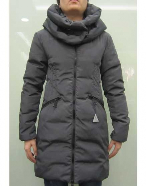 Moncler Down Women Coats Zip Style Long Grey