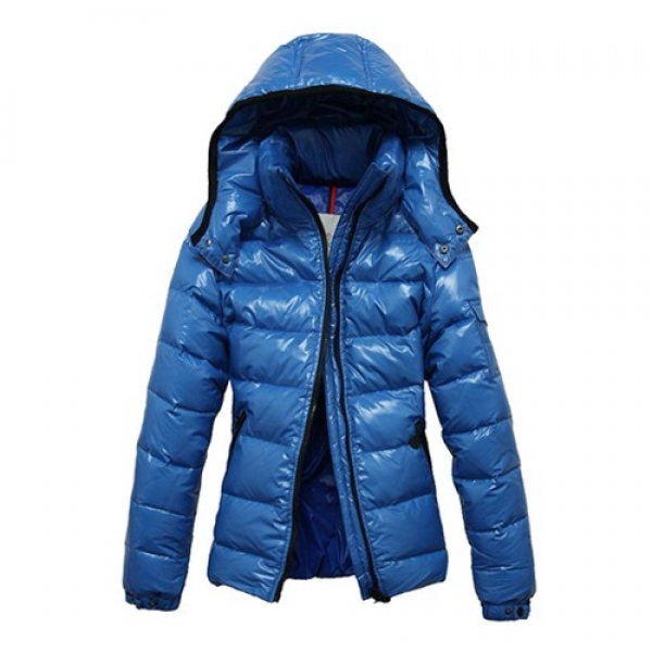 Moncler Fashion Bady Quilted Hooded Down Light Blue Jacket Women