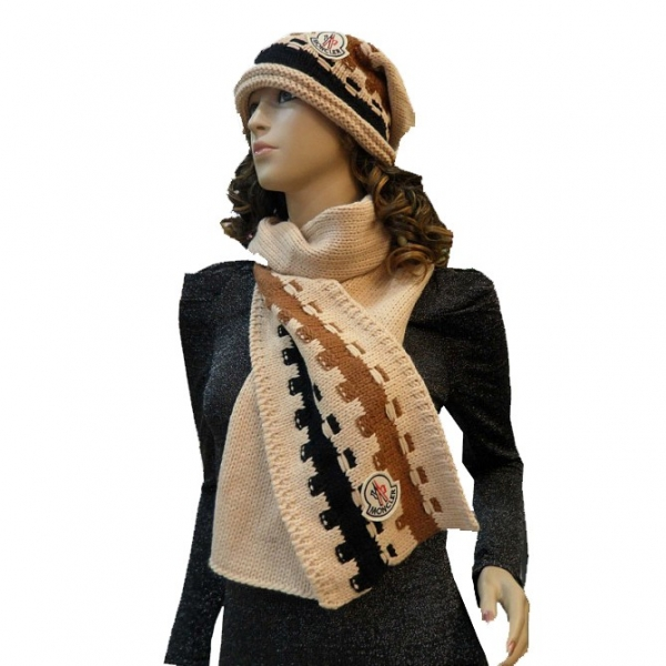 Moncler Fashion Beige Brown Black Scarf & Cap
