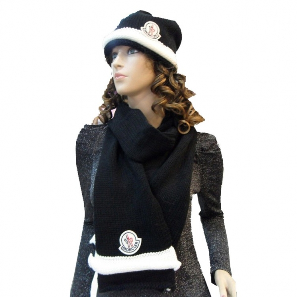 Moncler Fashion Black White Scarf & Cap