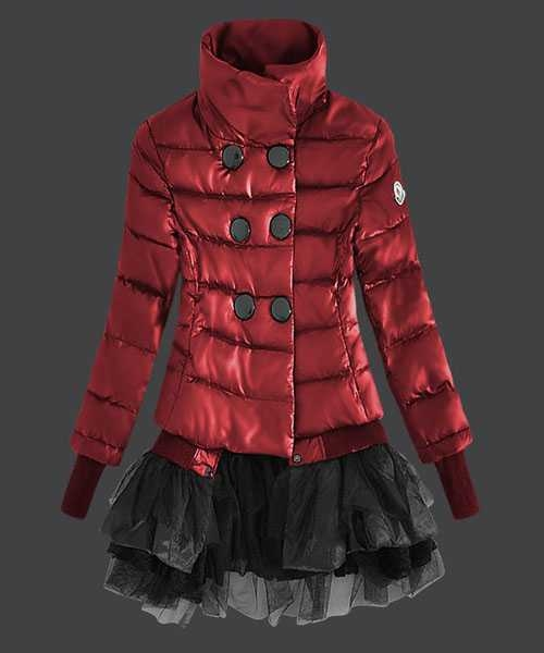 Moncler Fashion Down Jackets Women Lace Red
