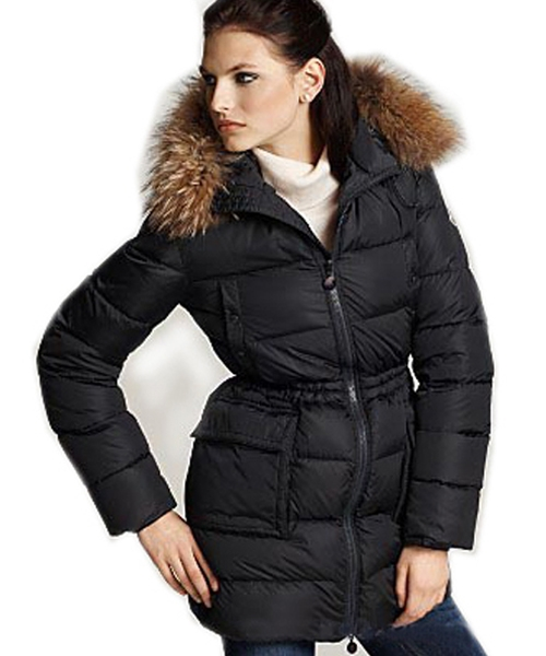 Moncler Gueran Classic Coats Women Down Long Zip Black