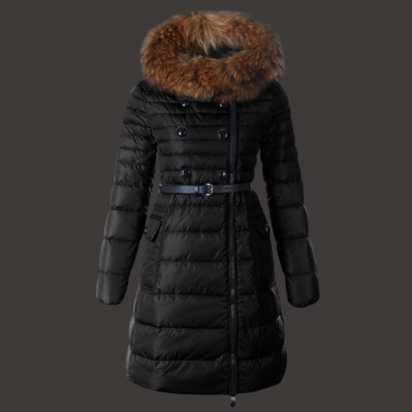 Moncler Herisson Coat Womens Long Black