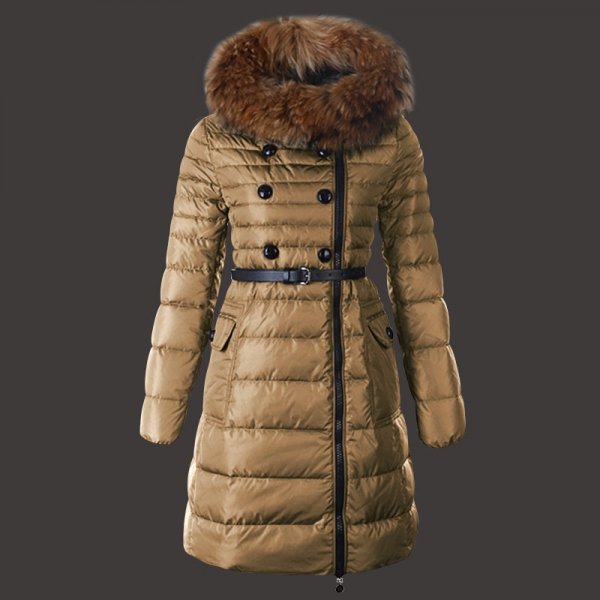 Moncler Herisson Coat Womens Long Khaki