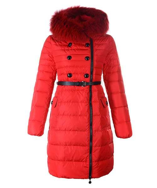 Moncler Herisson Fashion Coat Women Long Red