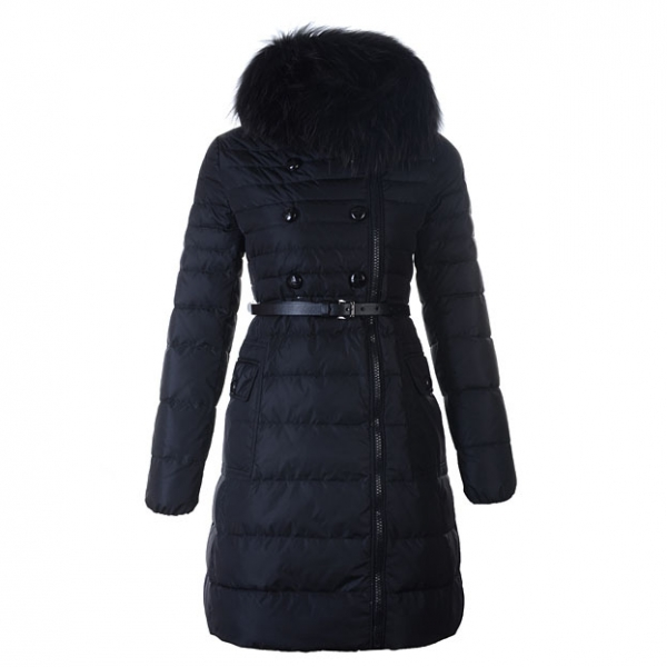 Moncler Herisson Women Coat With Belt Black For Sale