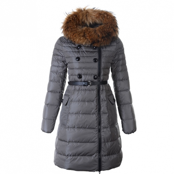Moncler Herisson Women Coat With Belt Gray For Sale
