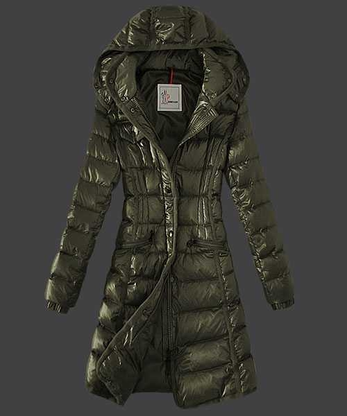Moncler Hermine Down Coats Women Windproof Army Green