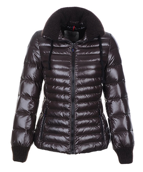 Moncler Lierre Women Jackets Sweater Collar Brown