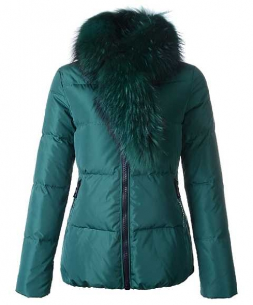 Moncler Lievre Classic Women Down Jackets Green Short