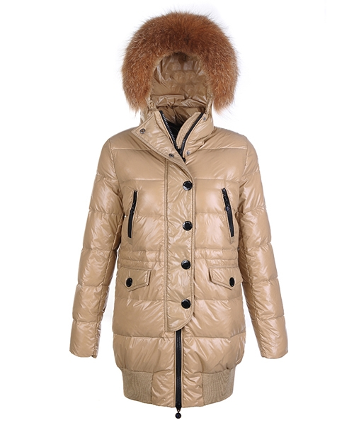 Moncler Loire Coat Women Fur Hoodie Zip With Button Khaki