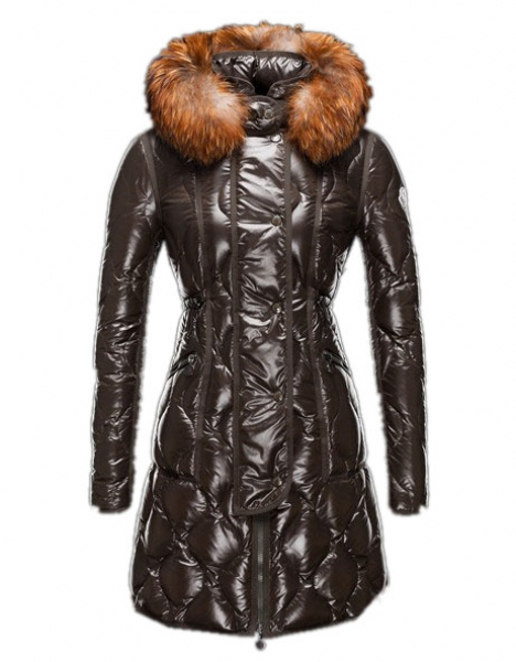 Moncler Lontre Coat Long Jacket Women Fur Collar