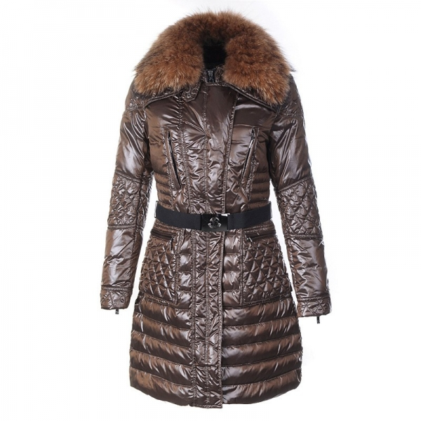 Moncler Maillol Belted Down Dark Coffee Coat Women