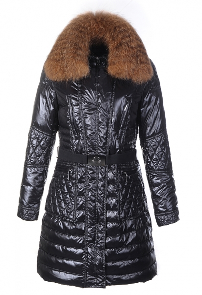 Moncler Maillol Women's Coat Fur Collar Black Belt
