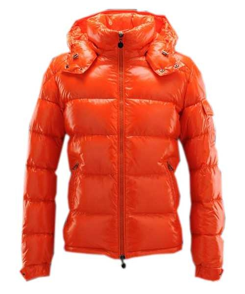 Moncler Maya Winter Mens Down Jackets Fabric Smooth Orange