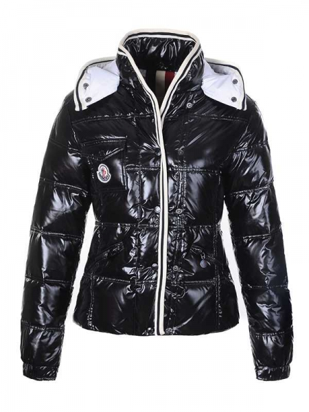 Moncler Quincy Down Jackets For Women Button Black Short