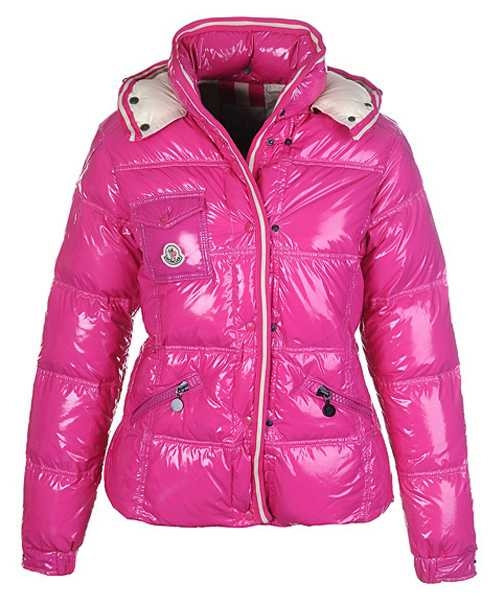 Moncler Quincy Down Jackets For Women Button Pink Short