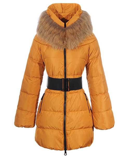 Moncler Sauvage Women Down Coat Fur Collar Long Orange