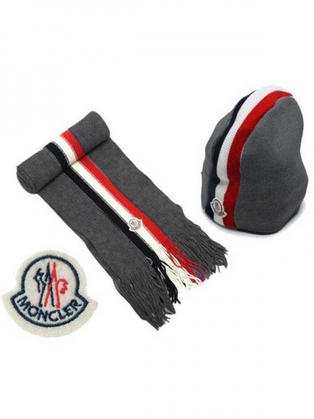 Moncler Scarf And Caps Generous Bark Gray