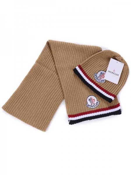 Moncler Scarf And Caps Pure Cotton Khaki