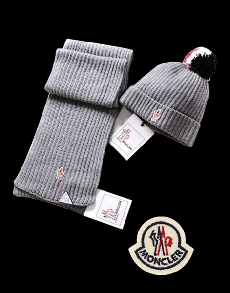 Moncler Simple Grey Scarf & Cap