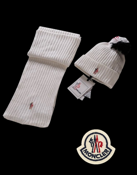 Moncler Simple White Scarf & Cap