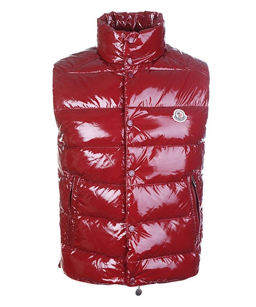 Moncler Sleeveless Vest For Men Smooth Shiny Fabric Red