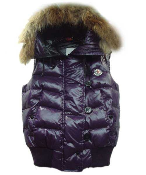 Moncler Tarn Women Down Vest Rabbit Hats Zip Purple