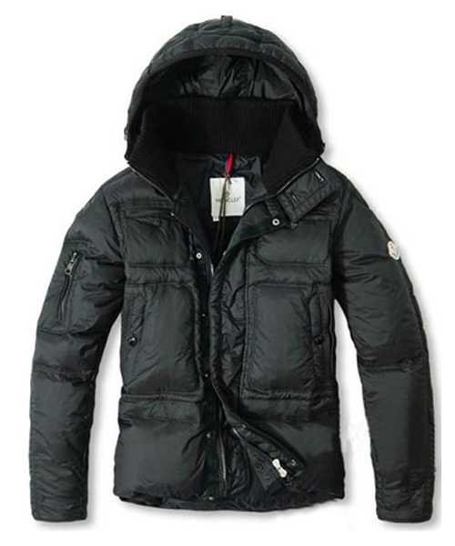 Moncler Down Jackets Mens With Hooded Zip Black