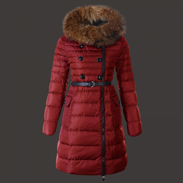 Fashion Moncler Herisson Coat Womens Long Red