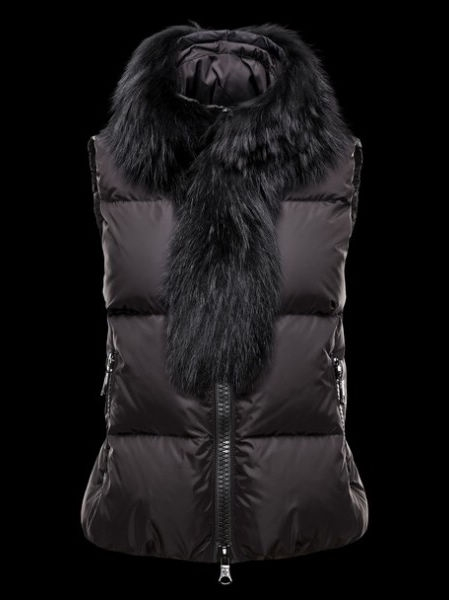 Femm Moncler Jacket Sleeveless Fur Collar Black