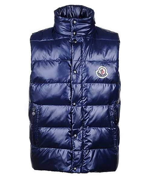 Moncler Unisex Down Vests Single Breasted Navy Blue