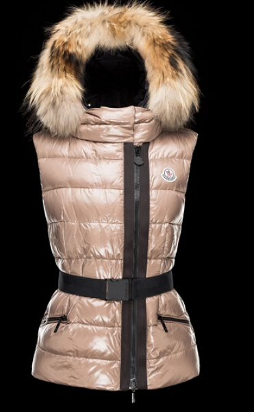 Moncler Vest RUE Down Jacket Women Hooded Fur Beige