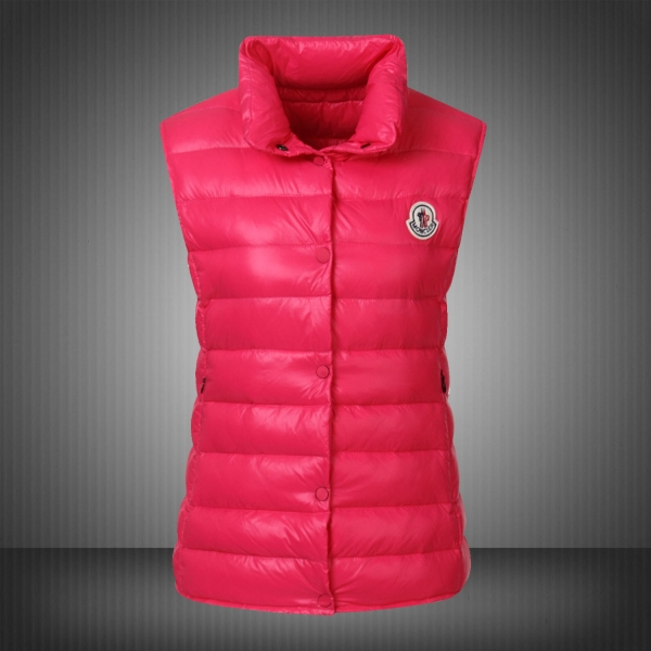 Moncler Vest Women Red With Mock Collar