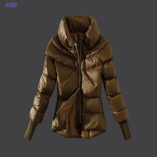 Moncler Windproof Womens Jackets Stand Collar Green Card