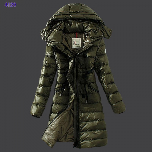 Moncler Winter Down Coat Women Hooded Slim Army Green